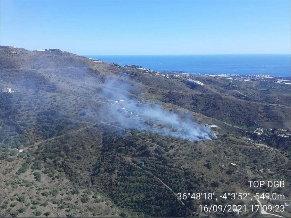 Foto: Imagen del incendio en la localidad de Arenas. Foto: Infoca Andalucía