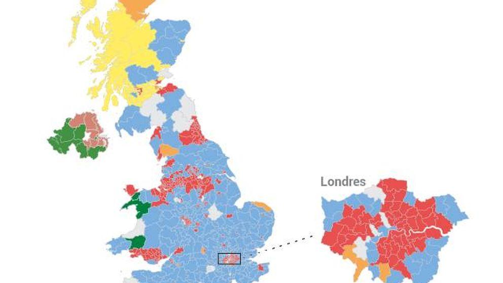 Mapa de resultados de las elecciones en UK: May y Corbyn, los ganadores