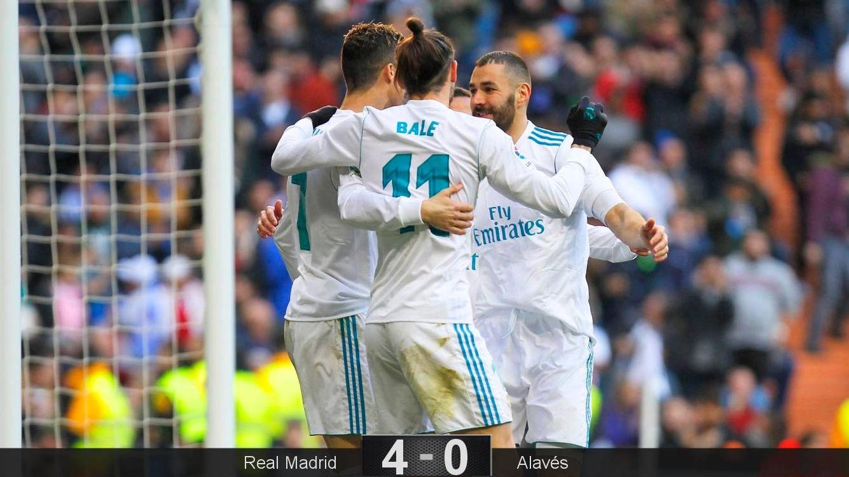 Foto: Cristiano Ronaldo, Bale y Benzema marcaron en la victoria del Real Madrid ante el Alavés. (Cordon Press)