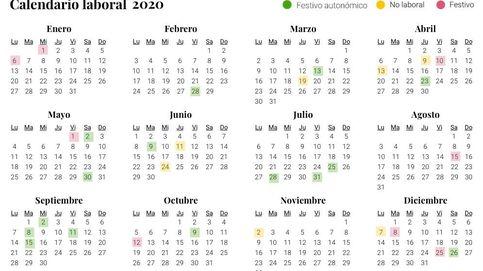 Calendario laboral de 2020: festivos nacionales, de las CCAA y puentes