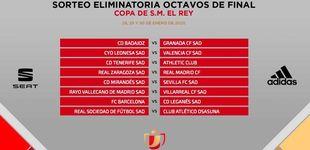 Post de Zaragoza-Real Madrid y Barça-Leganés, en los octavos de final de la Copa del Rey