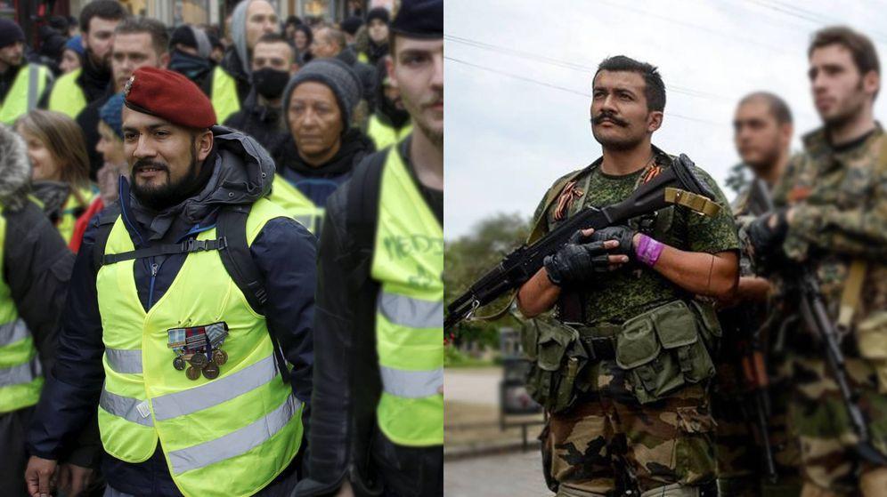 Foto: Víctor Lenta, en el servicio de orden de los chalecos amarillos y entre los rebeldes del Donbás. (Montaje: P. Seijas/Reuters/VK)
