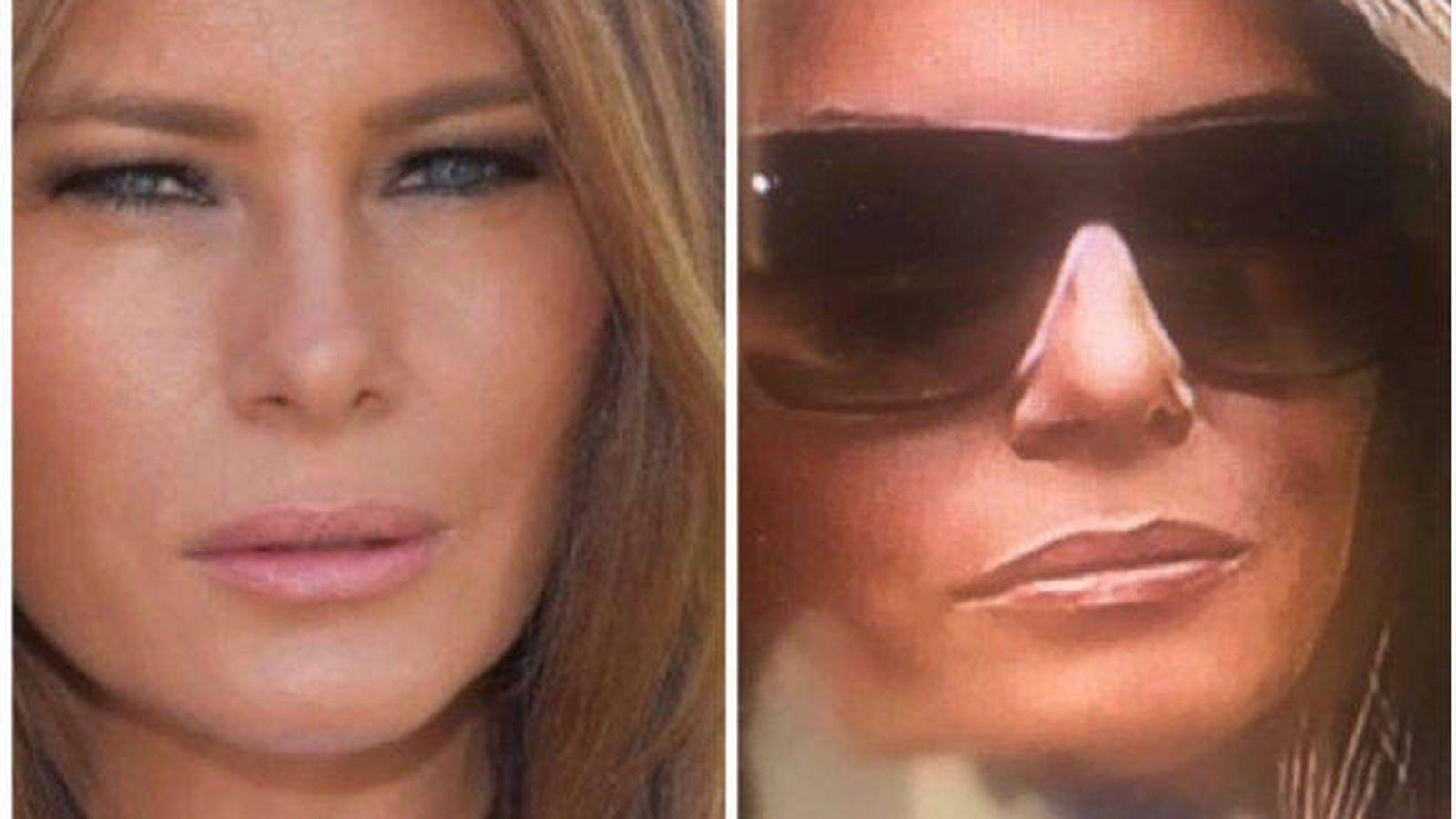 Foto: Melania Trump y su supuesta doble en una imagen comparativa de Twitter.