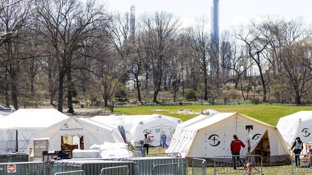 Foto: El hospital de campaña levantado en Central Park. (EFE)