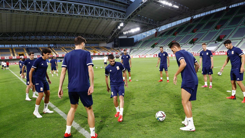 La Selección, durante un entrenamiento en Japón. (EFE)