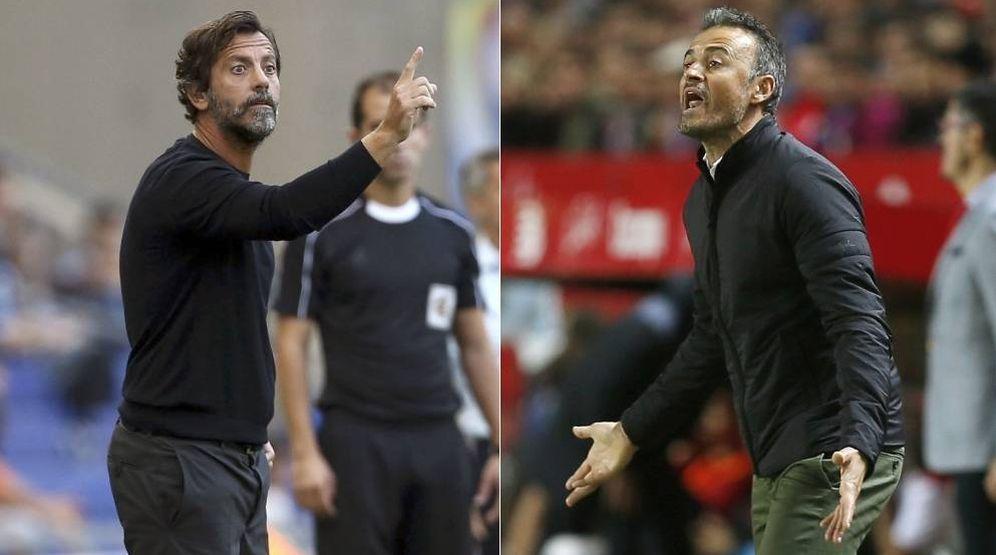Foto: Quique Sánchez Flores y Luis Enrique se verán las caras este sábado.