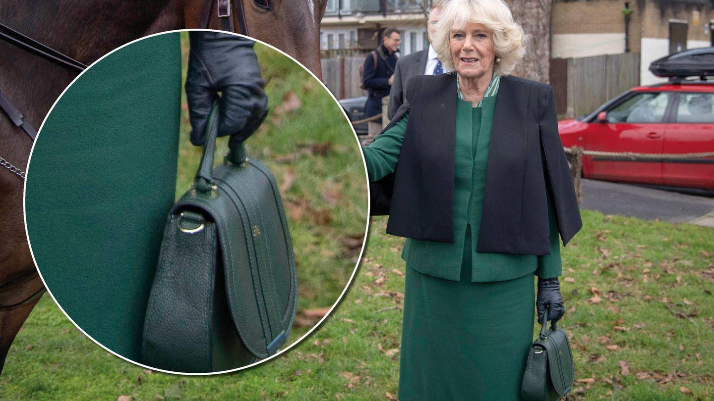 Camilla con el bolso de DeMellier London.  (Getty)
