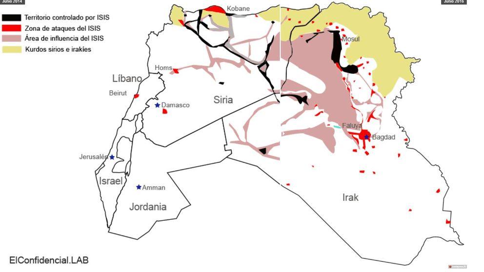 Dos años de 'Califato: la inexorable decadencia del ISIS, en mapas