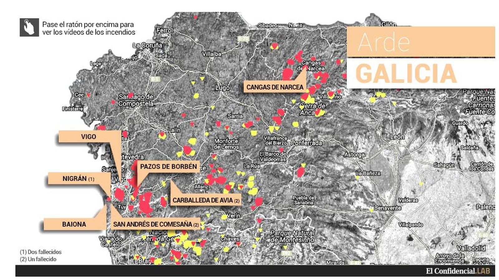 Mapa Incendios Galicia 2017.Incendios Este Es El Mapa De Los Incendios Que Arrasan