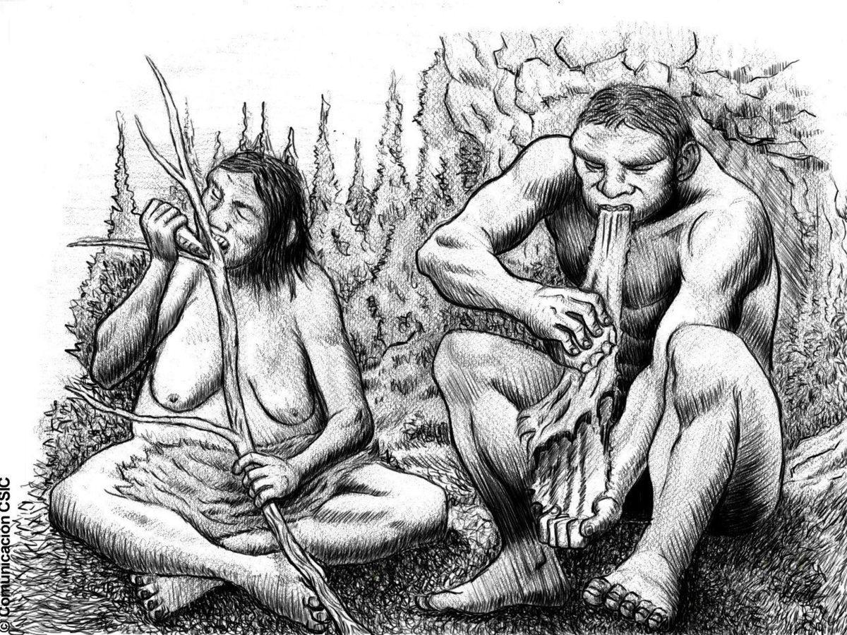 Foto: Recreación de dos individuos neandertales. (EFE)