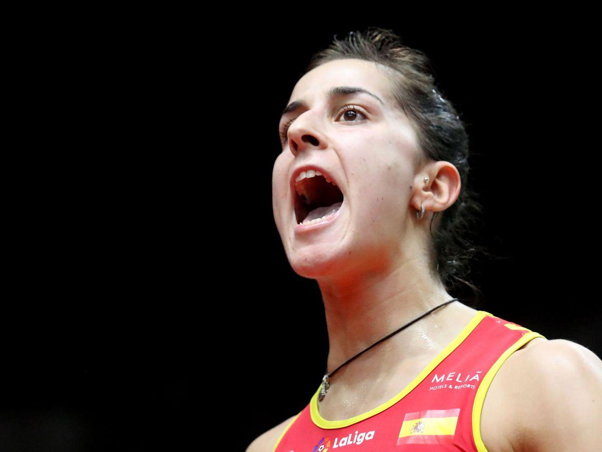 Foto: Carolina Marín celebra un punto en el Masters de Indonesia. (EFE)