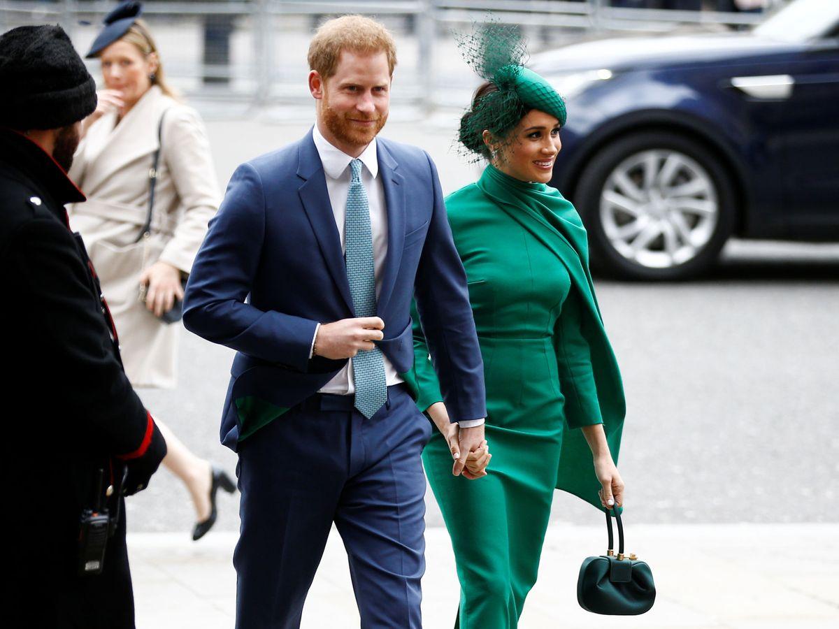 Foto: Harry y Meghan, llegando a la abadía de Westminster. (Reuters)