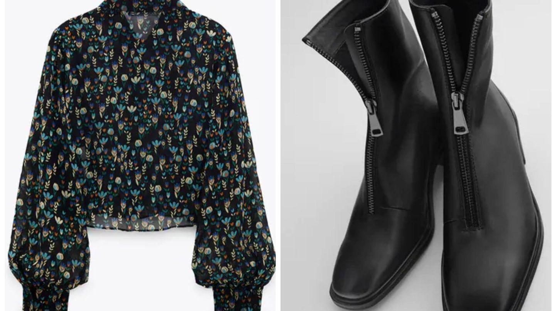 Blusa y botines de la nueva colección de Zara. (Cortesía)