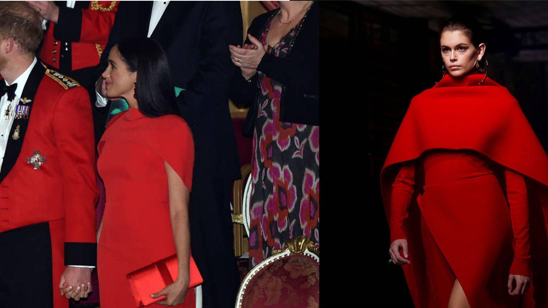 Meghan Markle luce un vestido muy similar al de Kaia Gerber en el desfile de Givenchy. (Reuters)