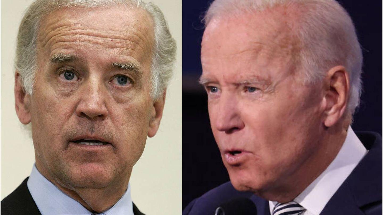 Joe Biden en 2005 versus Joe Biden en 2020. (Getty)