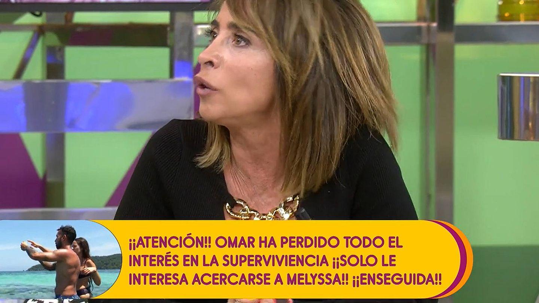 María Patiño, tras encararse a Jorge Javier. (Mediaset)