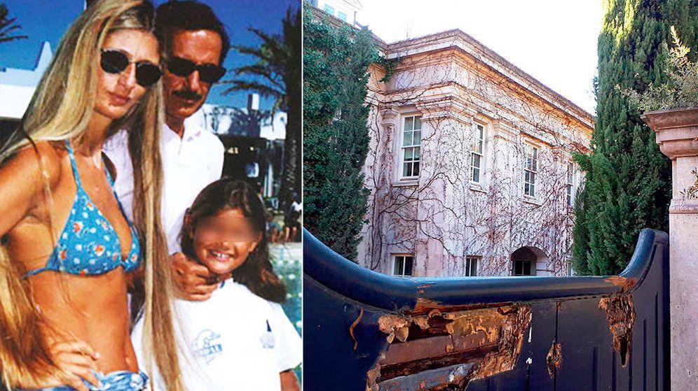 Foto: El Assir junto a su primera esposa en Sotogrande, hace lustros. A la derecha, su mansión en estado de abandono.