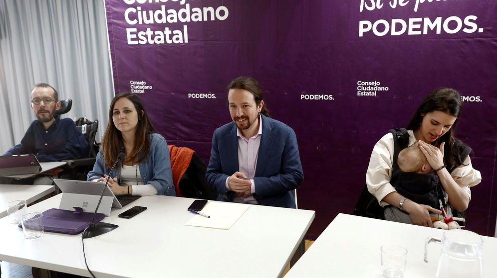 Foto: Pablo Iglesias junto a Pablo Echenique, Ione Belarra e Irene Montero durante el Consejo Ciudadano Estatal de Podemos. (EFE)