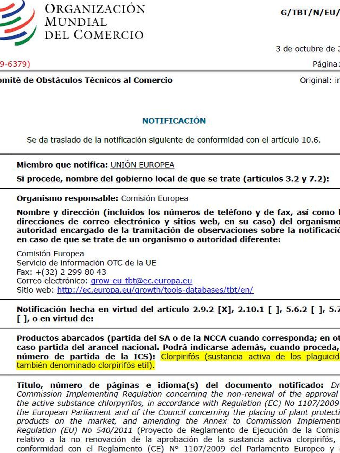 Notificación de la UE a la OMC sobre el clorpirifós.