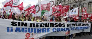 UGT y CCOO buscan doblegar a Aguirre uniendo sus protestas en Justicia, Sanidad y Educación