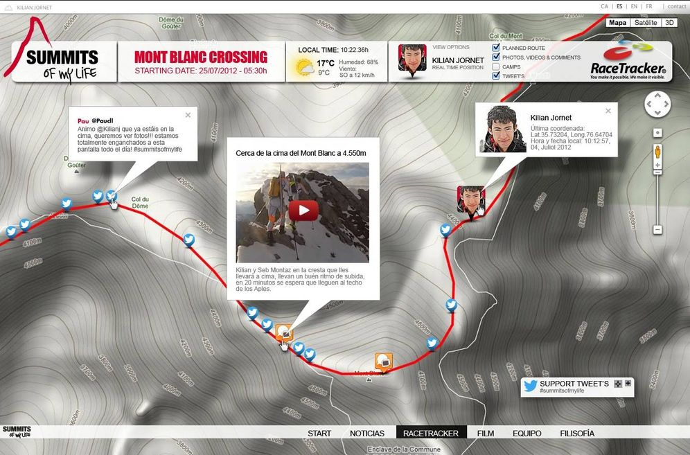 Foto: Propuesta de Racetracker para Kilian Jornet en su intento de cruzar el macizo del Mont Blanc