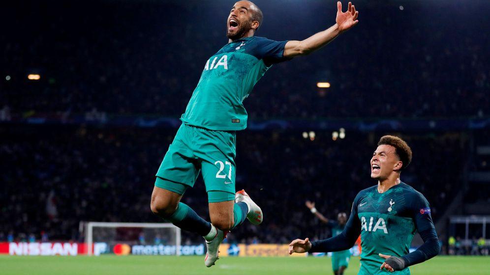 Foto: Lucas Moura, celebrando su tercer gol. (Reuters)