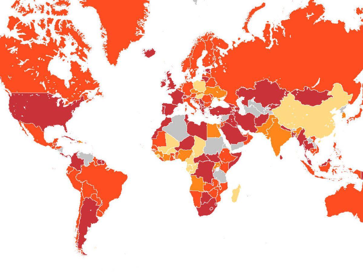 Foto: Según el mapa del CDC, España está en riesgo máximo: nivel 4. (CDC)