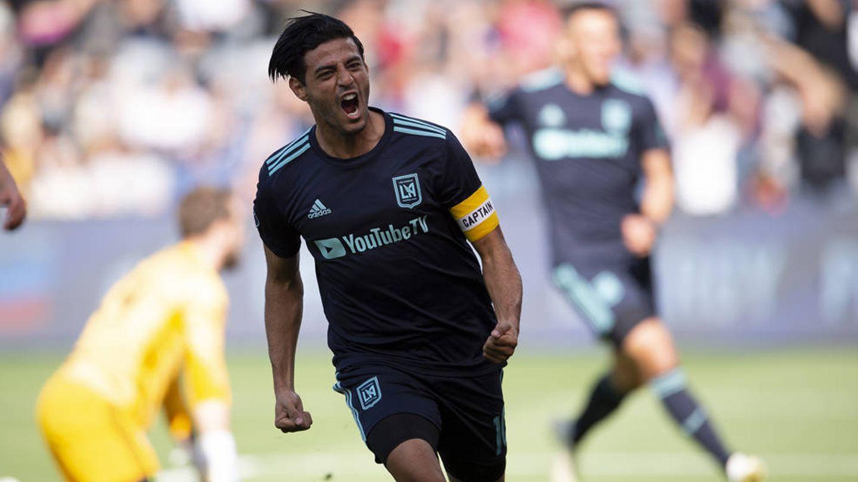 Vela celebra un gol con su actual equipo, Los Angeles FC de la MLS. (Reuters)