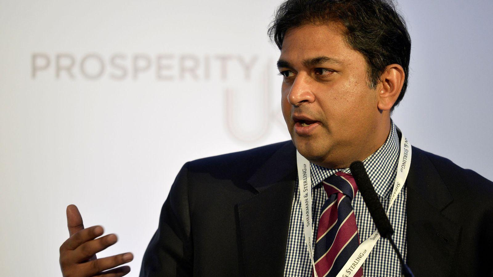 Foto: Shanker Singham durante una intervención en una conferencia en Londres, en abril de 2017. (Reuters)