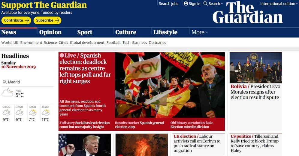 Foto: Portada de 'The Guardian'.