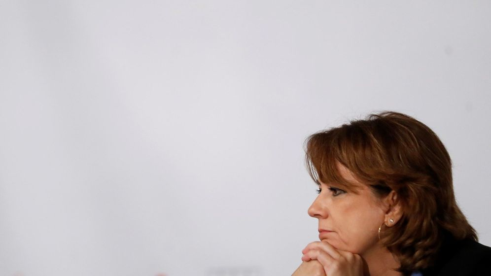 Foto: Dolores Delgado durante el desayuno de Europa Press. (EFE)