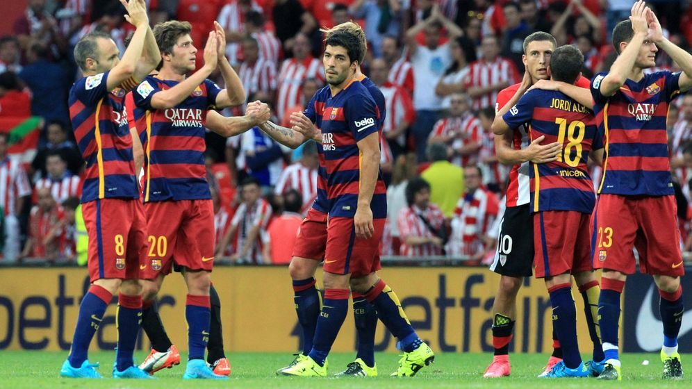 Foto: Los jugadores del Barcelona celebran la victoria ante el Athletic (Efe).