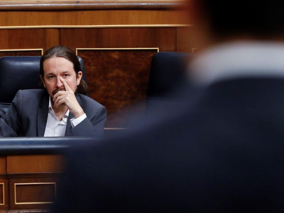 Foto: El vicepresidente segundo del Gobierno, Pablo Iglesias, en el Congreso. (EFE)