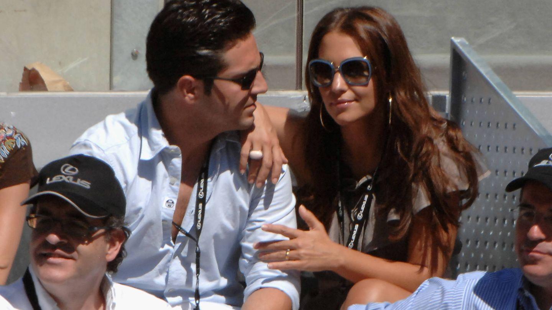 David Bustamante y Paula Echevarría, en el Mutua Madrid Open de Tenis. (Getty)