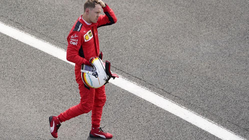 Foto: Sebastian Vettel era la imagen de la desolación y el desánimo al terminar un duro GP de Gran Bretaña (REUTERS)