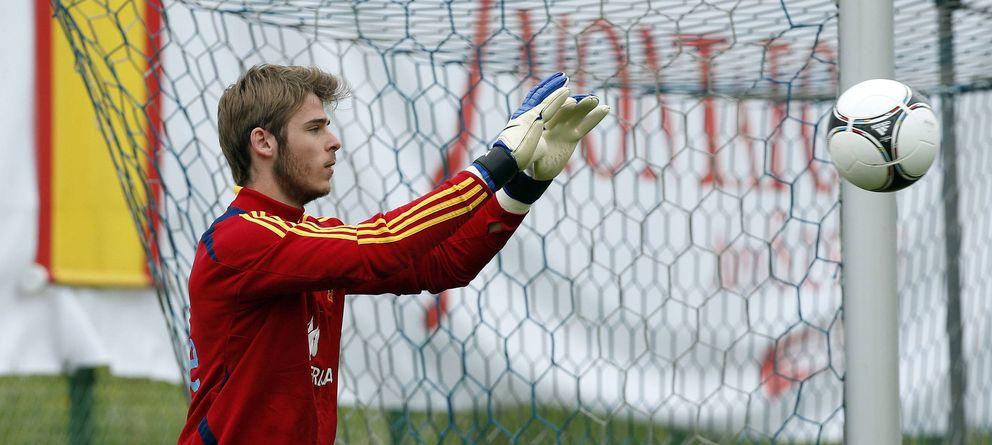 Foto: David de Gea durante un entrenamiento con la selección nacional (Efe).