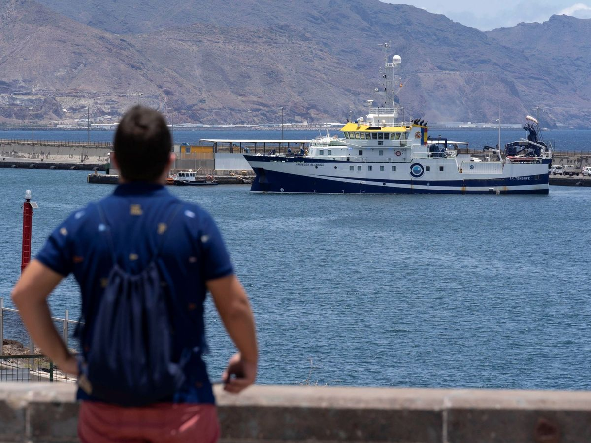 Foto: El buque Ángeles Alvariño, en puerto. (EFE)