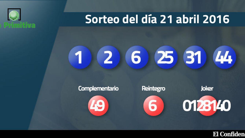 Resultados de la Primitiva del 21 de abril de 2016: números 1, 2, 6, 25, 31, 44