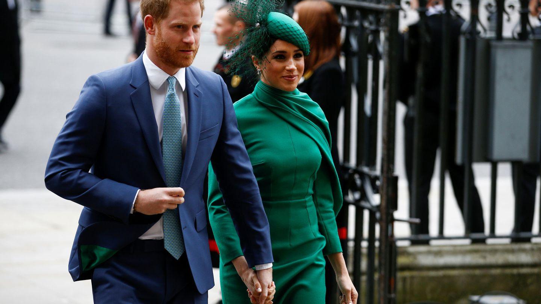 Los duques de Sussex, a su llegada a la misa por el Día de la Commonwealth. (Reuters)