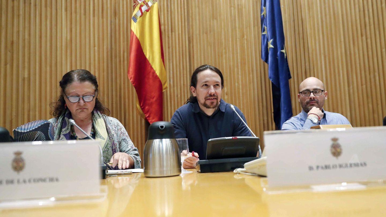 Imagen de archivo de Txema Guijarro (d), junto a Pablo Iglesias (c). (EFE)