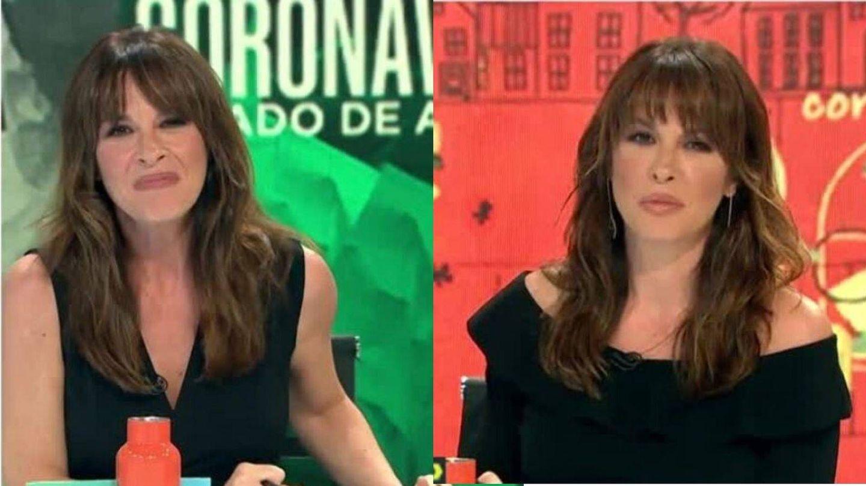 Mamen Mendizábal, con el flequillo hacia delante, peinado de dos formas distintas. (La Sexta)