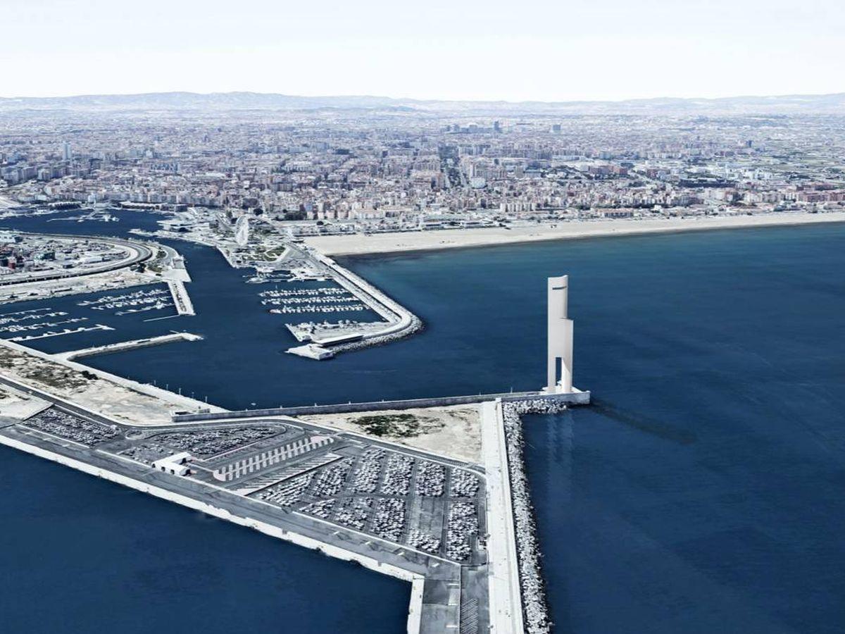 Foto: La Torre Eólica, el proyecto de 170 metros en la entrada de la bocana de la dársena interior del Puerto de Valencia. (FS Arquitectos)