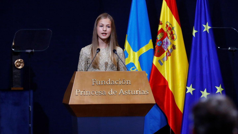 Leonor, durante el discurso que ofreció en los Premios Princesa de Asturias. (EFE)