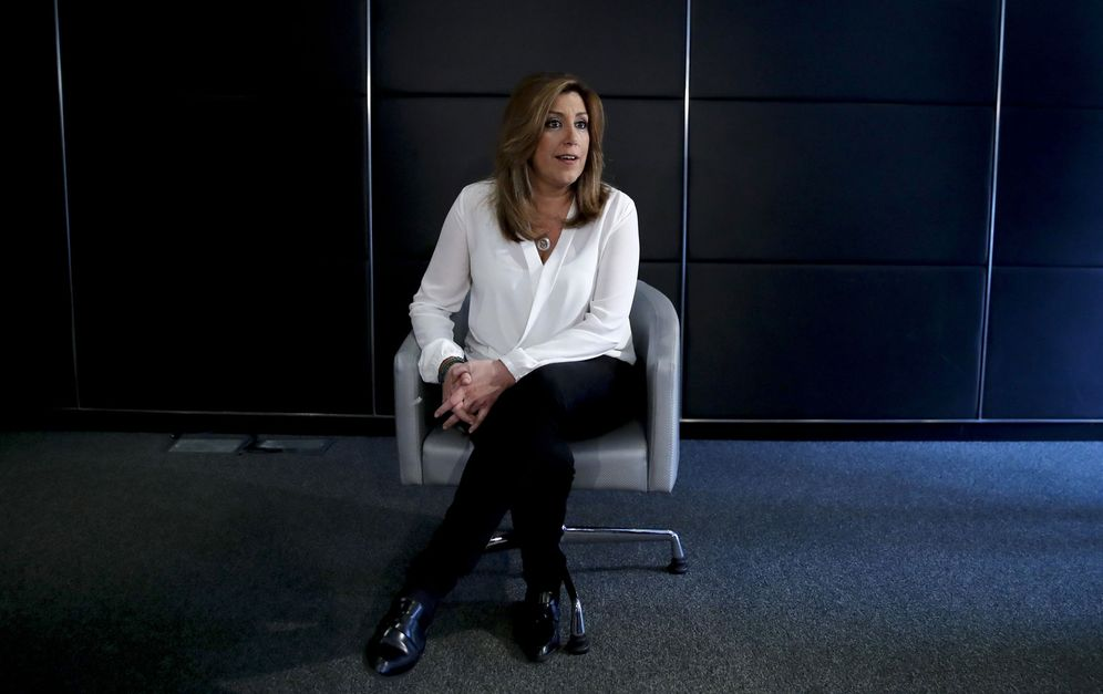 Foto: Susana Díaz durante el 'briefing' informativo ofrecido este 12 de mayo en el hotel AC Atocha de Madrid. (EFE)