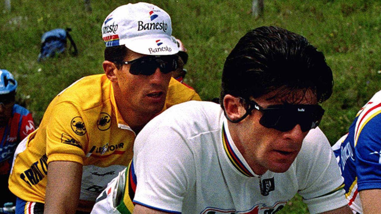Gianni Bugno y Miguel Indurain en el Tour de Francia de 1991. (Imagen de archivo)