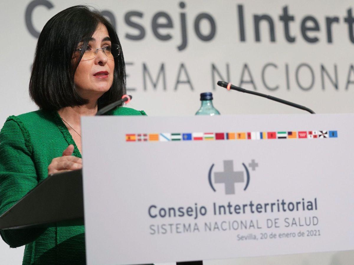 Foto: Carolina Darias durante una rueda de prensa ofrecida tras la reunión del Consejo Interterritorial la pasada semana. (EFE)