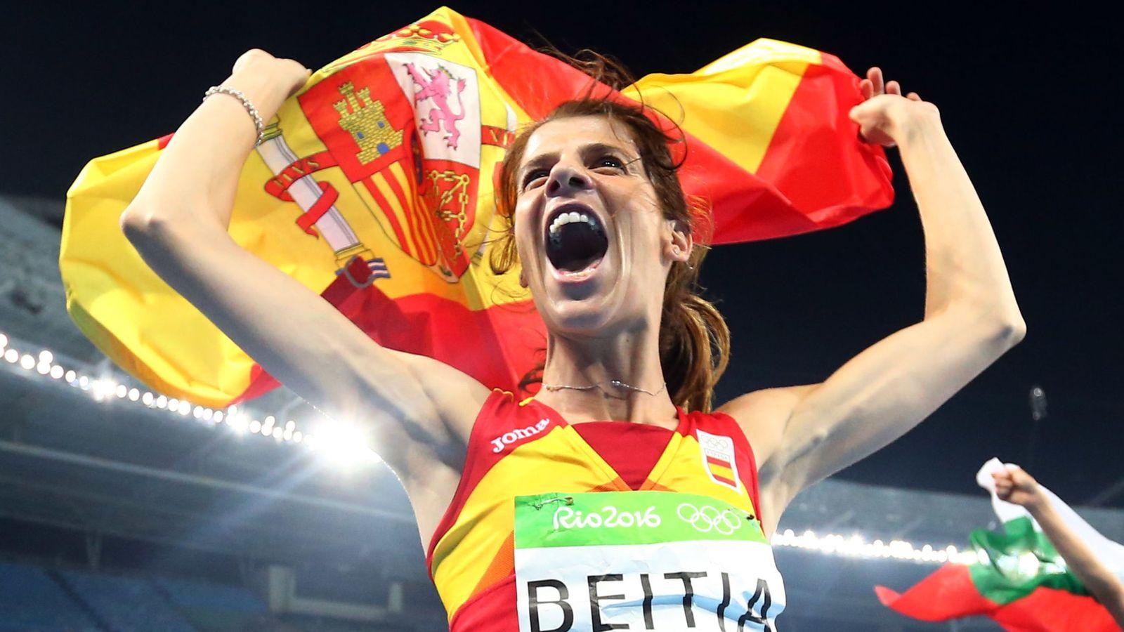 Foto: La española Ruth Beitia celebra su victoria en la final de salto de altura femenino. (EFE)