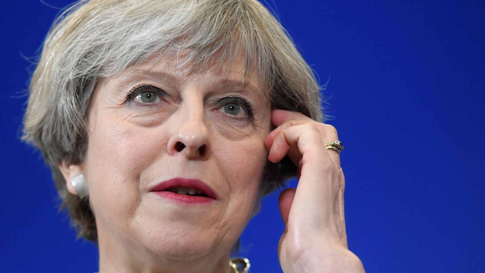 Foto: La primera ministra del Reino Unido, Theresa May, durante un discurso previo las elecciones de junio. (REUTERS)