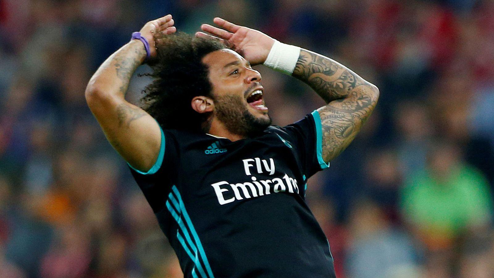 Foto: Marcelo celebra un gol con rabia durante un partido de la Champions League. (Reuters)