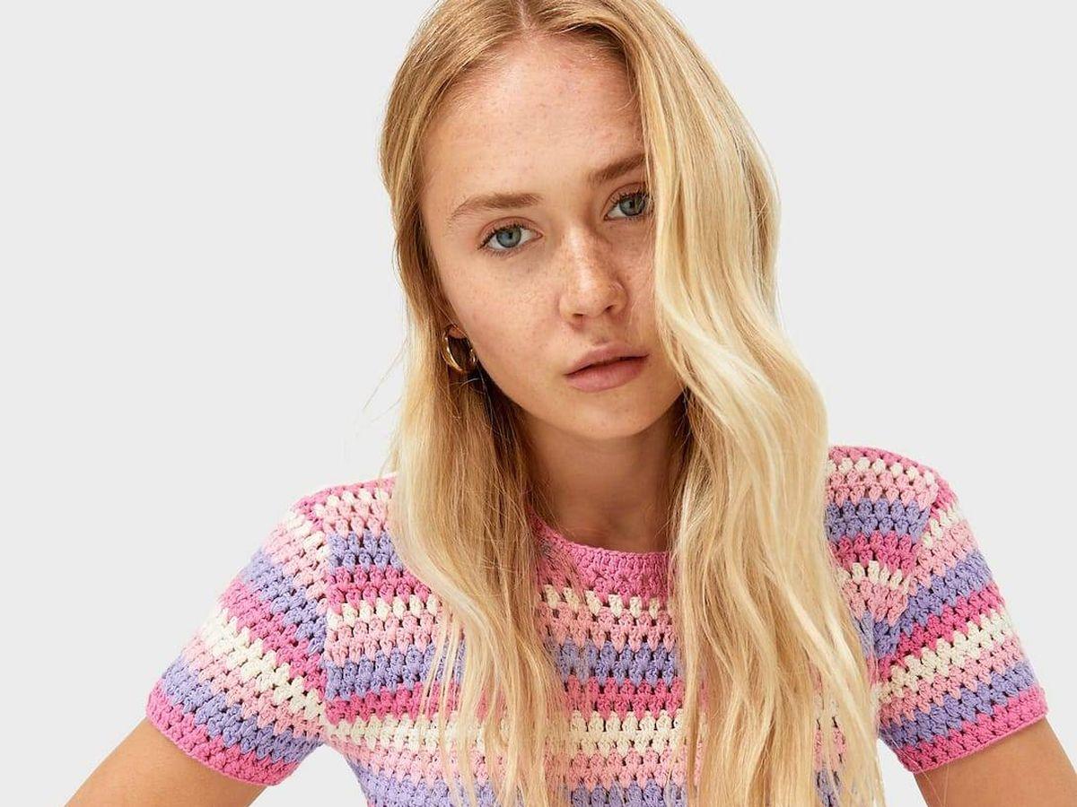 Foto: Camiseta de crochet de Stradivarius. (Cortesía)